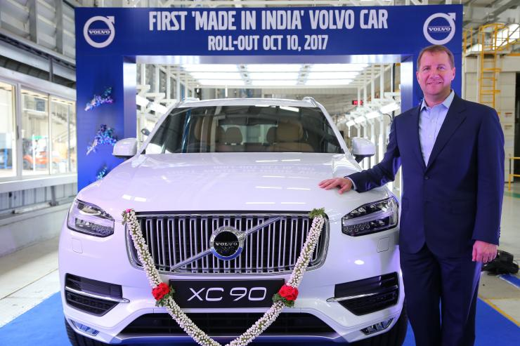 Charles Frump, MD, Volvo Auto India at the First 'Made In India' Volvo car roll out