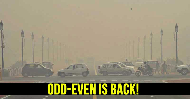 Odd-Even traffic rule to restart in Delhi from 13th November