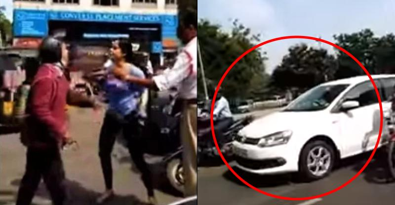 Woman driver in Volkswagen Vento chases bikers; Road rage caught on camera