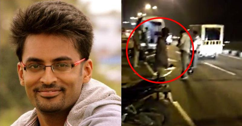 [Video] Software engineer's motorcycle hits illegal structure put up by political party; Run over by truck