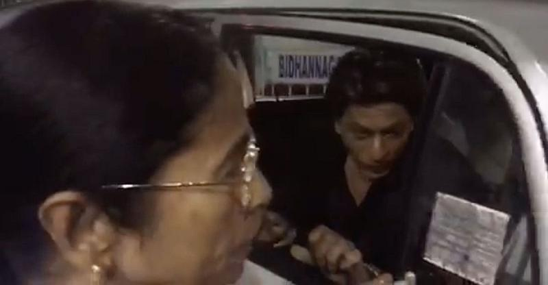 [Video] Shahrukh Khan rides in the back seat of Mamata Banerjee's Hyundai Santro