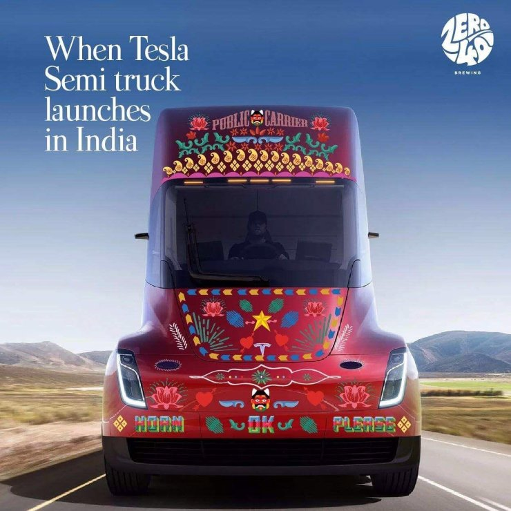 tesla semi truck in india photoshop