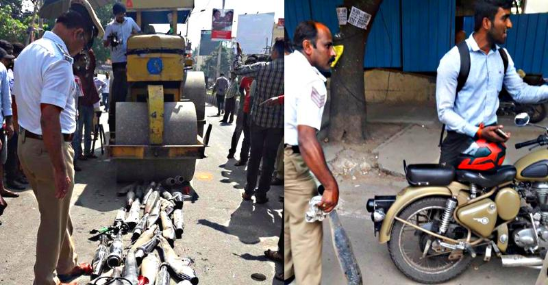 Bangalore traffic police use a Road roller to crush loud Royal Enfield exhausts; Get trolled