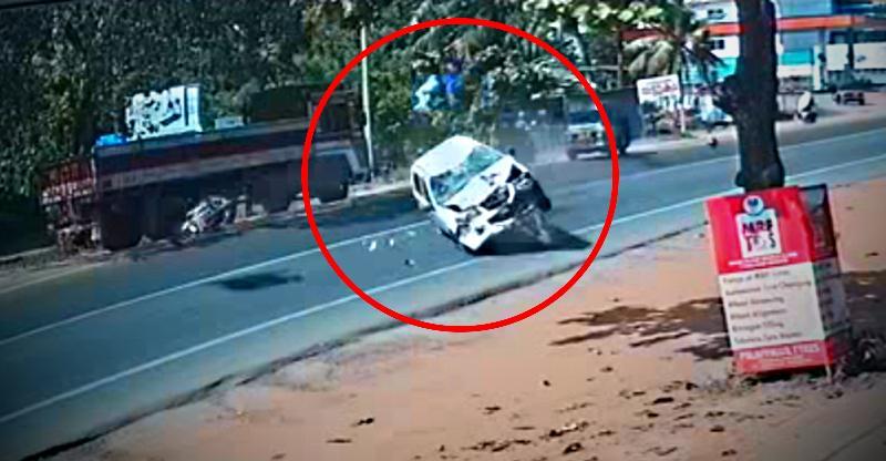 [Video] Insane car-bike crash in Kerala highlights the dangers of overspeeding