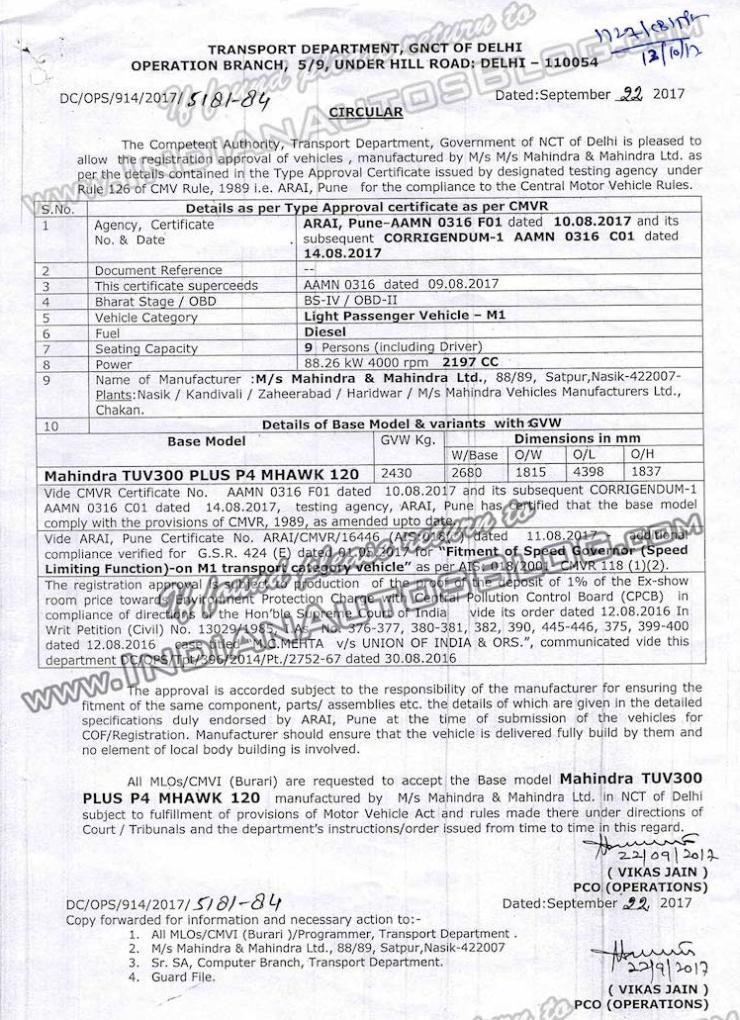Mahindra TUV300 Plus specifications revealed