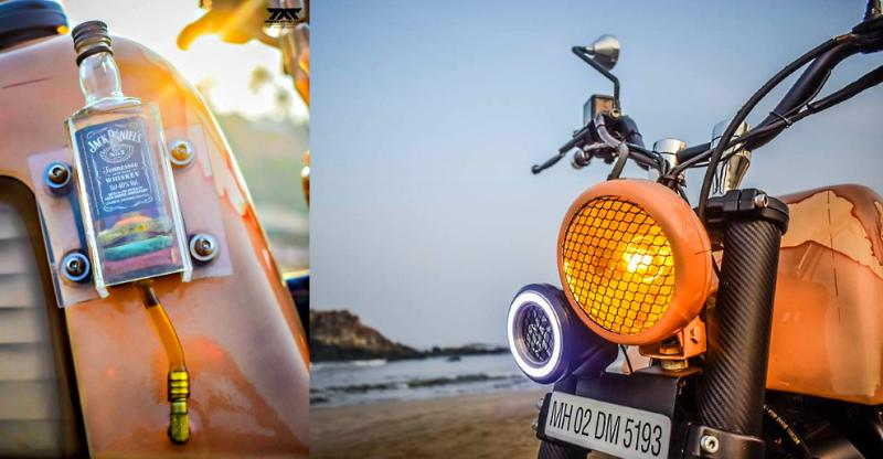 Modified Royal Enfield Scrambler motorcycle from Maratha Customs is a visual STUNNER