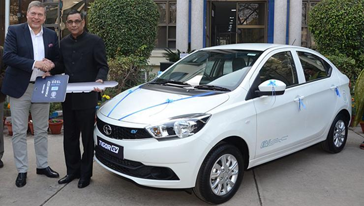 Tata Motors delivers first batch of Tigor Electric compact sedans to Indian government's EESL