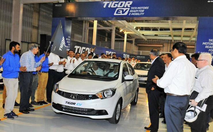 Tata Tigor Electric sedan production flagged off by Ratan Tata at Sanand Factory