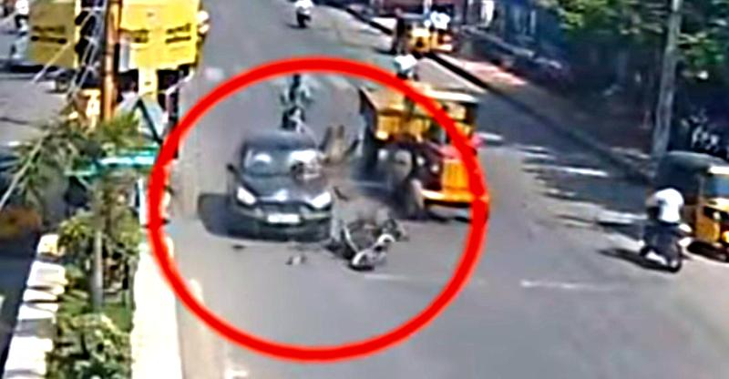 Careless motorcycle rider cuts wrong way across traffic, has HUGE crash (Video)