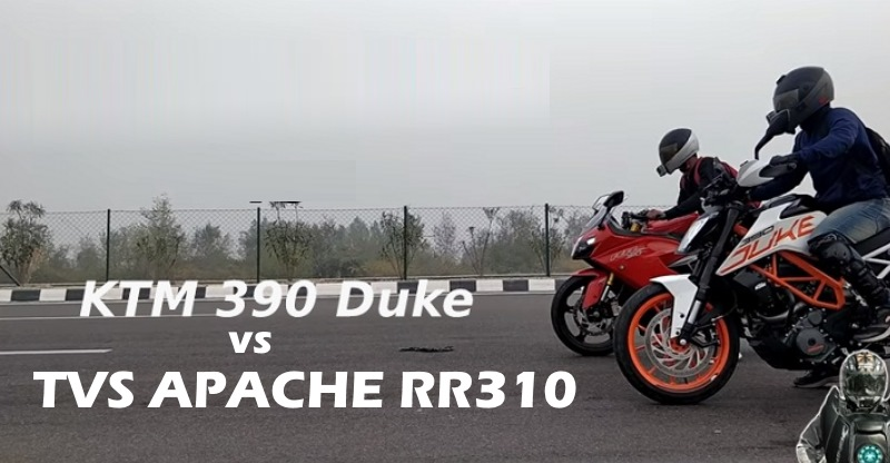 TVS Apache RR310 vs KTM Duke 390 motorcycle drag race on Video