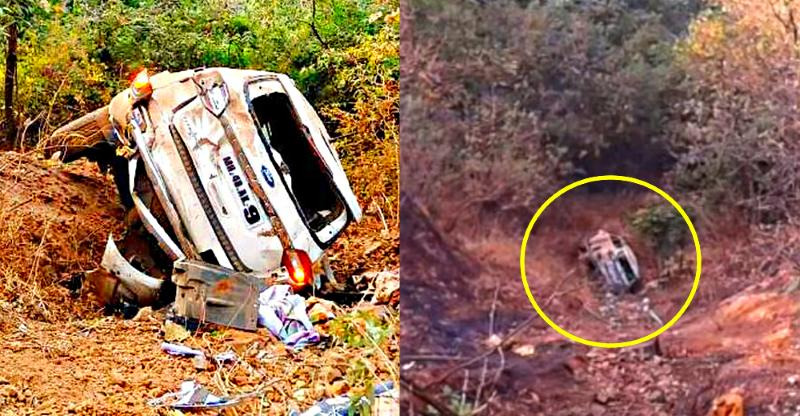 Miraculous escape for family in a Ford Endeavour after SUV falls into a 400 foot-deep ravine (Video)