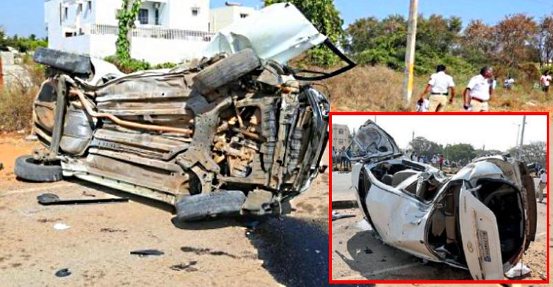 Airbags & seat belts protect front seat passengers in massive over-speeding crash