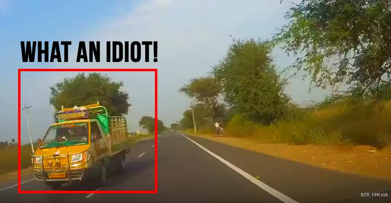 Just miss! Distracted moron swerves into wrong lane; Reflexes save Fiat Punto driver