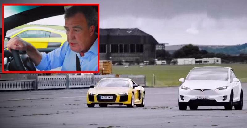[Video] Jeremy Clarkson races a Tesla Model X SUV against an Audi R8 V10