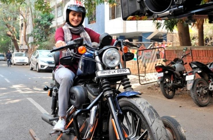 Movie Star Madhuri Dixit Spotted On A Harley Davidson Sportster 883
