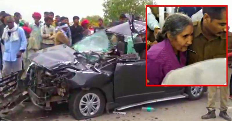 PM Narendra Modi's wife Jashodaben has a narrow escape in a big car-truck crash