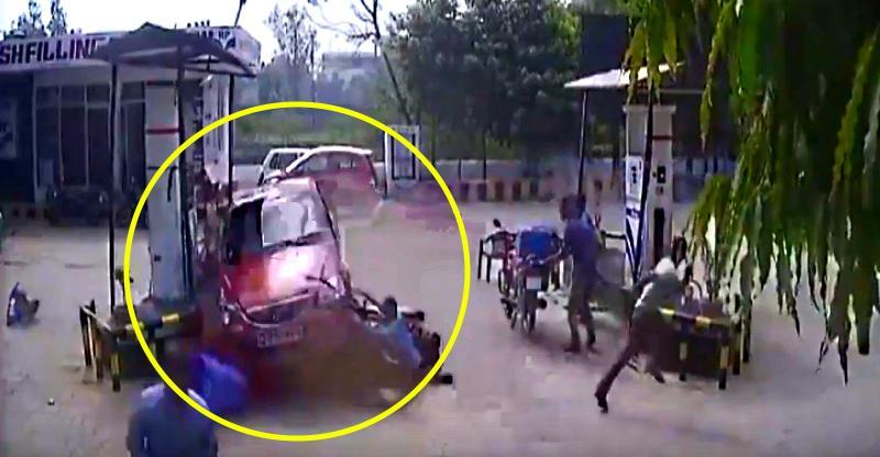 Indian driving student loses control; crashes car into bikers at petrol pump [Video]