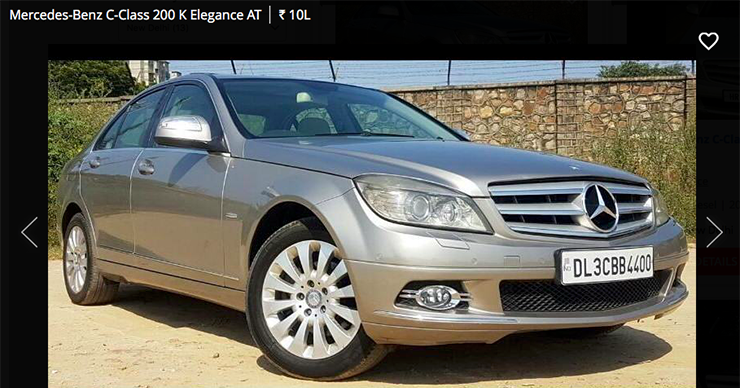 used Mercedes c class 200 k elegance at below 10 lakh