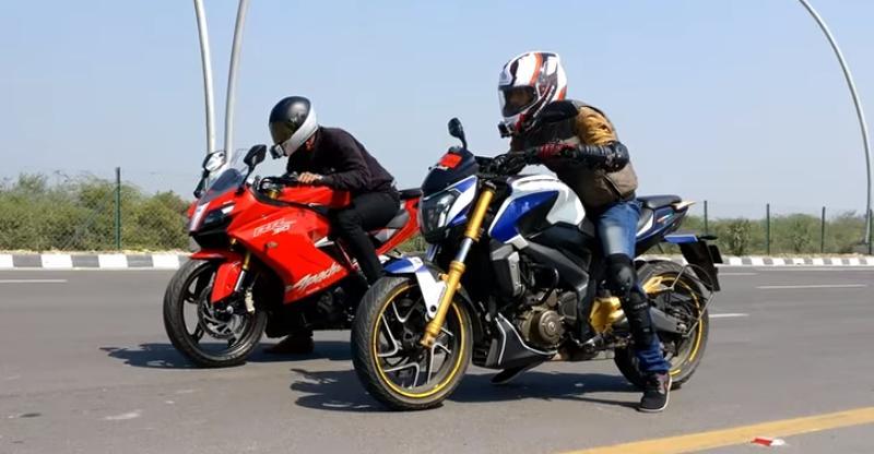TVS Apache RR310 vs Bajaj Dominar motorcycle drag race on Video