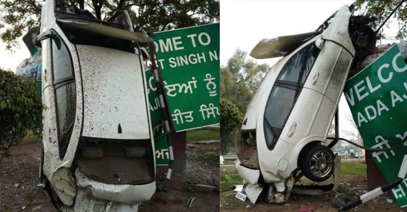 Crazy car accident in Mohali, car ends up climbing a pole
