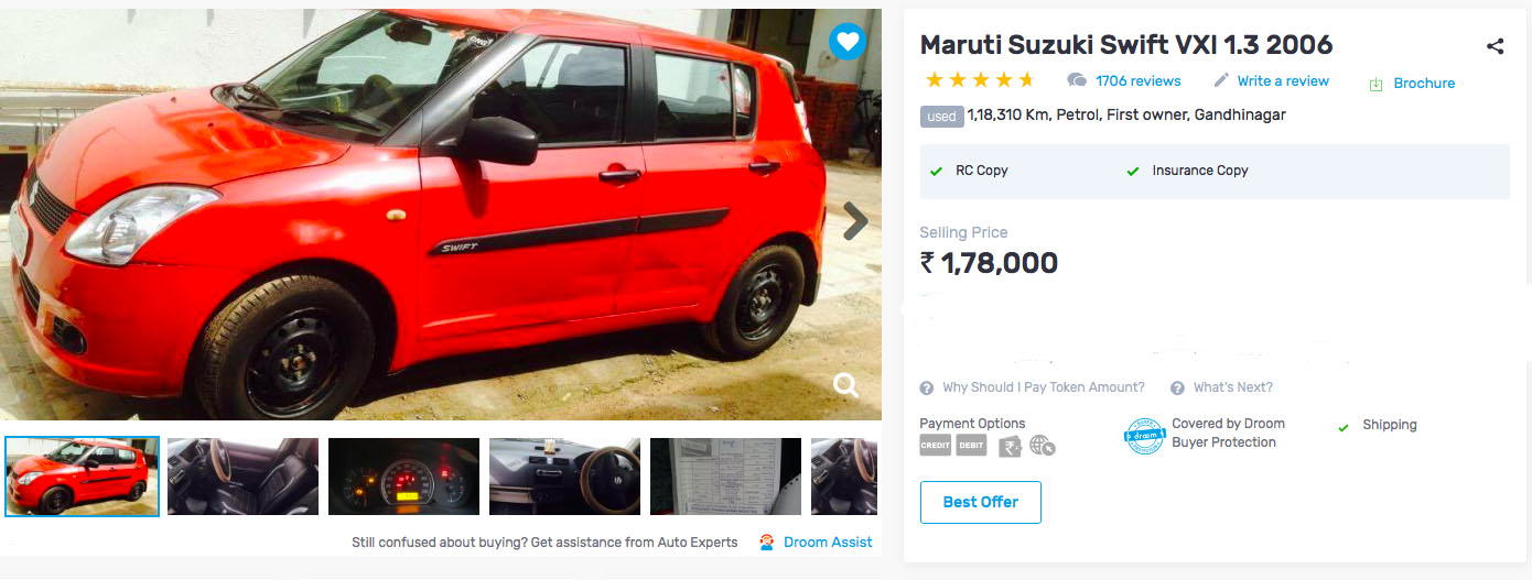 used maruti swift under rs 2 lakh