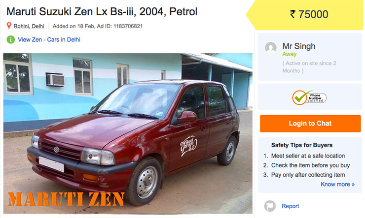 used maruti zen under rs 2 lakh