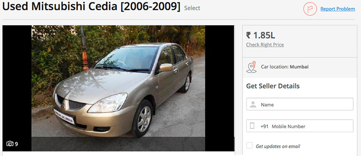used mitsubishi cedia under rs 2 lakh
