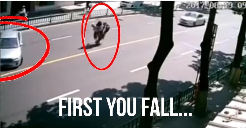 Motorcycle runs away from rider after hilarious minor crash!