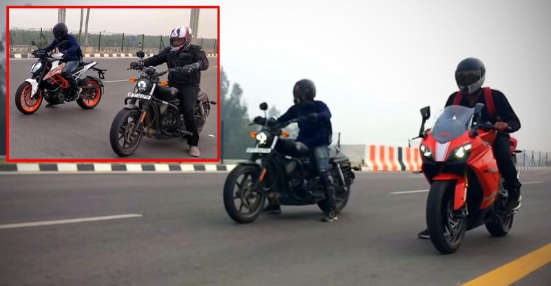 TVS Apache 310 vs Harley Davidson Street 750 vs KTM Duke 390 in an epic DRAG [Video]