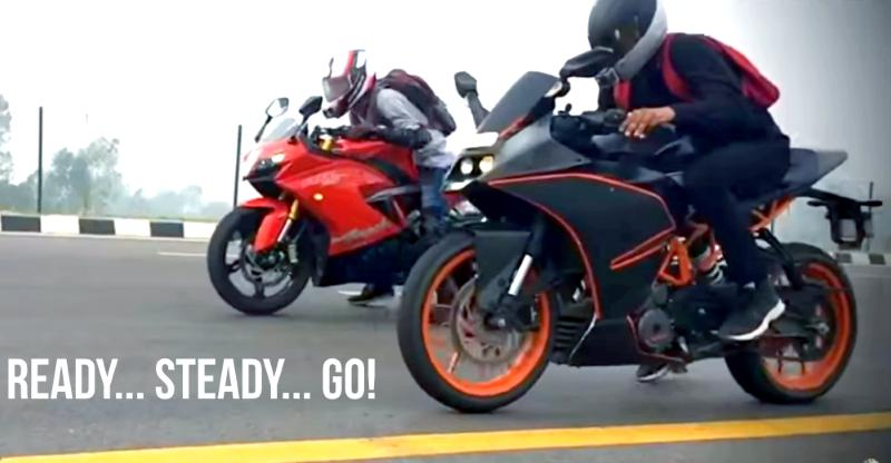 TVS Apache RR310 vs KTM RC390 motorcycle drag race on video shows who's BOSS!