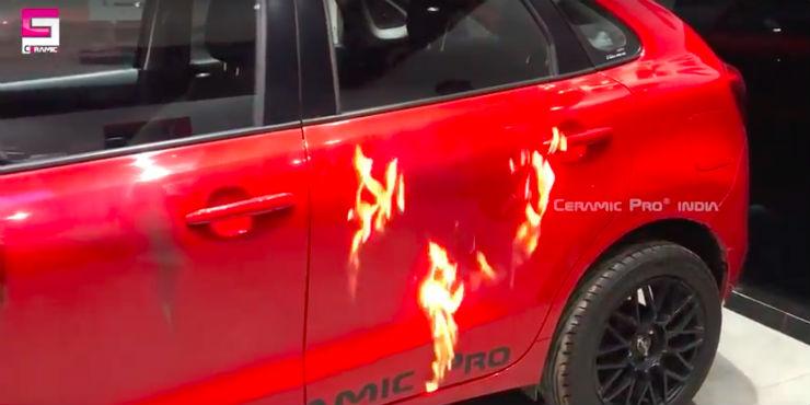 Maruti Suzuki Baleno given ceramic coating, and set on fire!