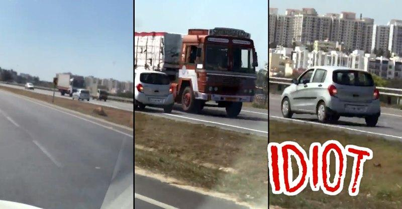 Perfect example of the Indian MORON driver, caught on video