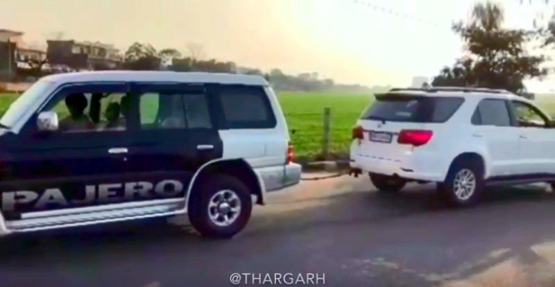 Mitsubishi Pajero vs Toyota Fortuner SUV in a tug of war: Who wins! [Video]