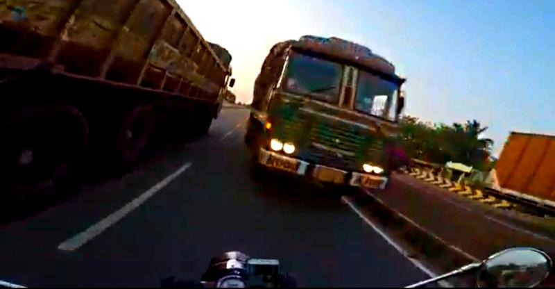Truck in front of Royal Enfield is the scariest example of wrong side driving we've seen this month [Video]