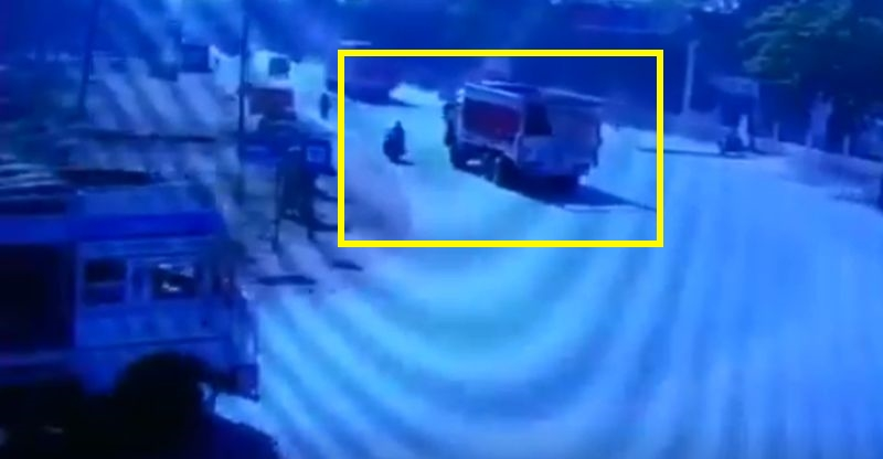 Journalist on motorcycle hit by truck; Accident or deliberate? Caught on cam