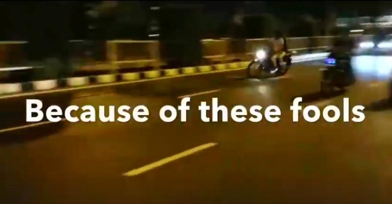 Dangerous motorcycle racing in Surat, India on public roads caught on cam