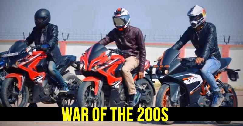 Bajaj Pulsar RS200 vs KTM RC200 vs Bajaj Pulsar NS200 in a Drag Race – Who wins [Video]