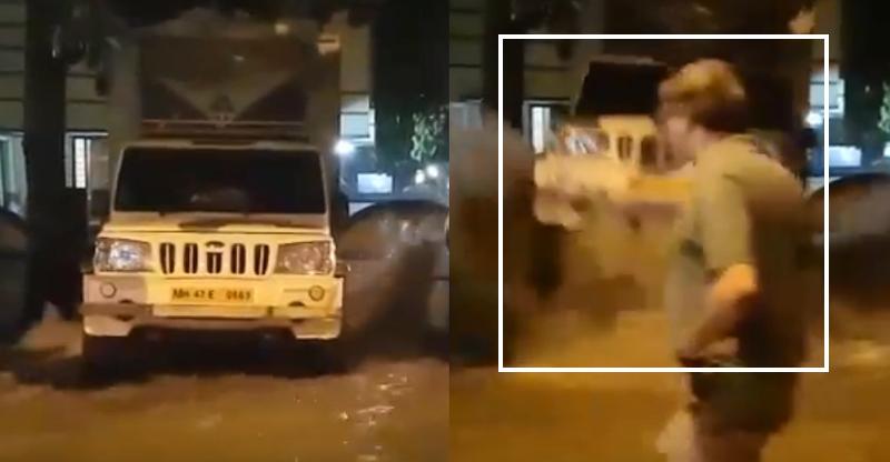 Mahindra Bolero literally flies after massive water pipeline burst [Video]
