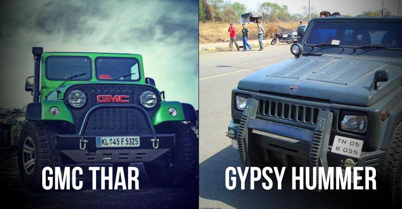 Mahindra Bolero, Scorpio, Thar, Maruti Gypsy etc modified into replica Hummers, G-Wagens and Range Rovers