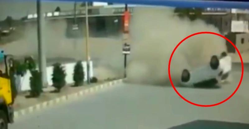 Miraculous escape: Watch a car roll over & passengers walk away [Video]