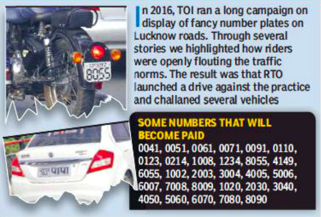 lucknow rto paid numbers