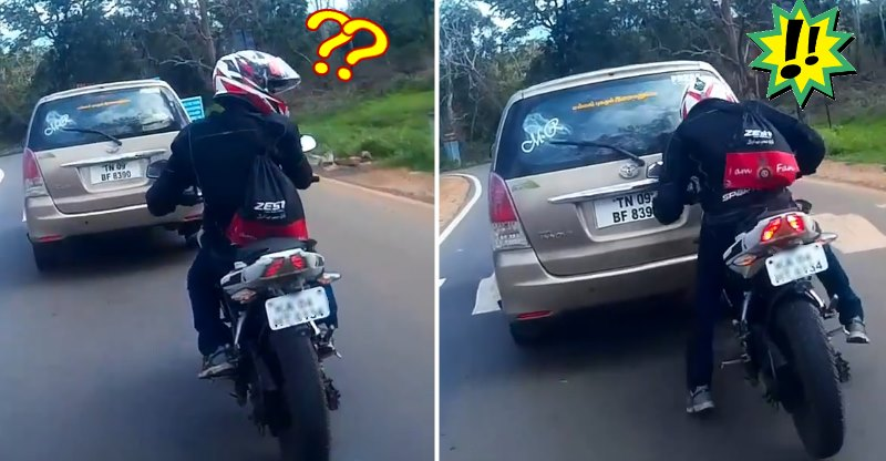 Bajaj Pulsar rider gets distracted for a moment, and this happens! [Video]