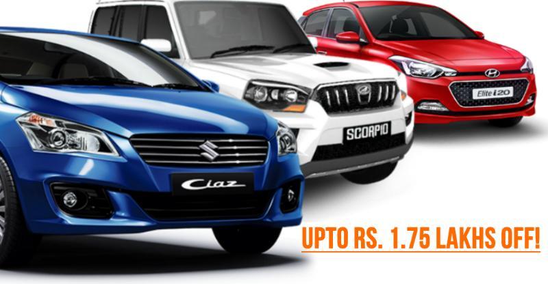 MASSIVE discounts of up to Rs. 1.75 lakhs on MY 2017 cars & SUVs: Maruti Ciaz to Mahindra Scorpio