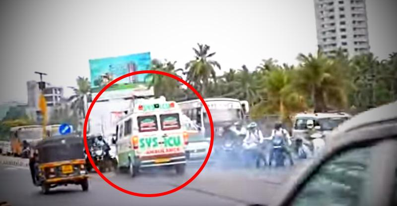 Ambulance crashes into motorcyclists when autorickshaw does not give way [Video]