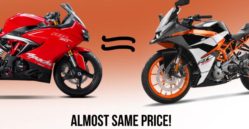 TVS Apache RR310 just 13,000 cheaper than the KTM RC390 after price hike