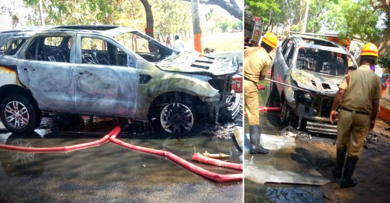 Brand new Ford Endeavour catches fire & burns to the ground: Video