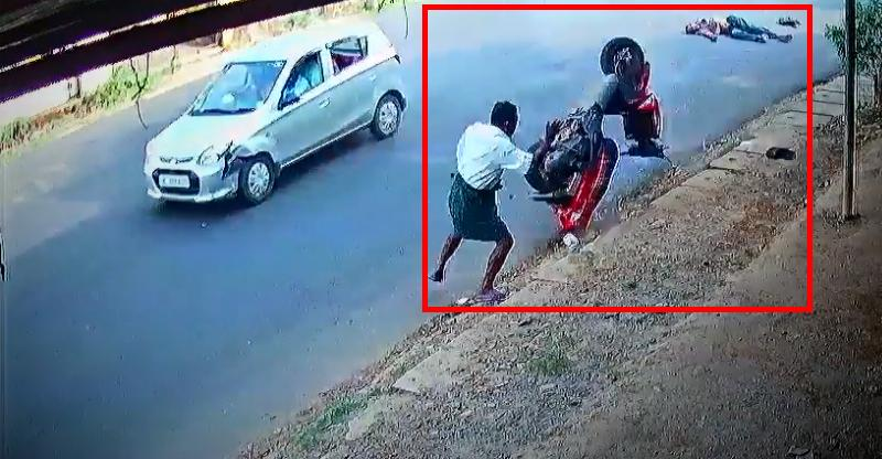 Lucky pedestrian, unlucky rider: Yamaha RayZ hit by car nearly takes out pedestrian [Video]