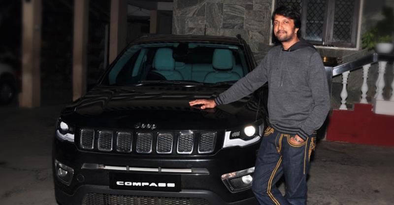 South Indian movie star 'Kiccha' Sudeep drives home a Jeep Compass SUV
