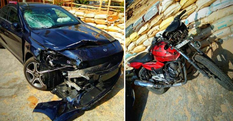 Minister's son in a brand new Mercedes crashes into a cop on a Bajaj Pulsar; Cop dead