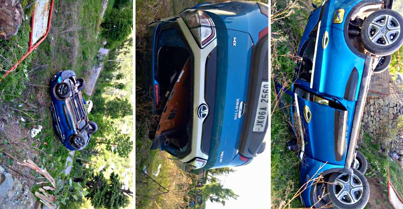 Tata Nexon topples into a 20 foot ditch; Owner escapes without injury